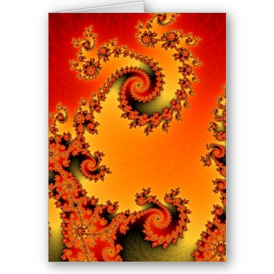 Flaming Hot Double Spiral Greetings Card