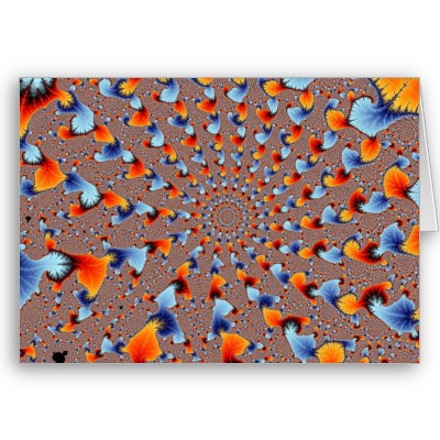 Red and Blue Flames Greetings Card
