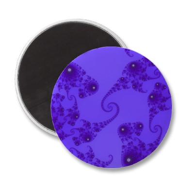 Blue Purple Seahorse Herd Magnet