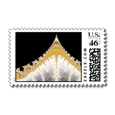 Silver and Gold Volcano Postage Stamp