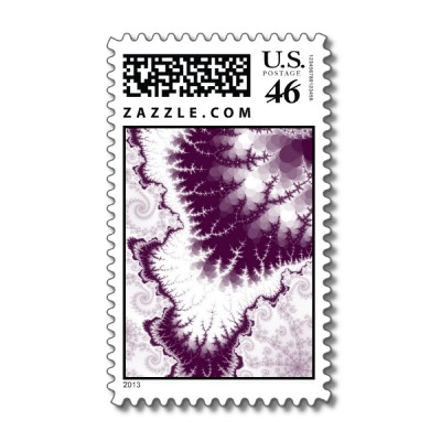 Plum Feathered Star Postage Stamp