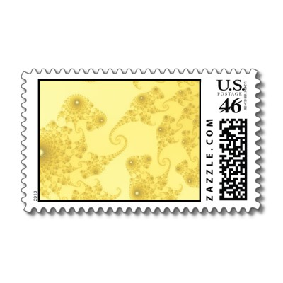 Yellow Gold Seahorse Herd Postage Stamp