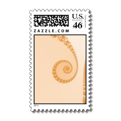 Gold Simple Spiral Postage Stamp