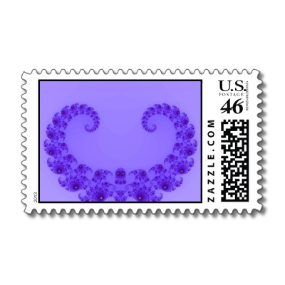 Blue Purple Heart Postage Stamp