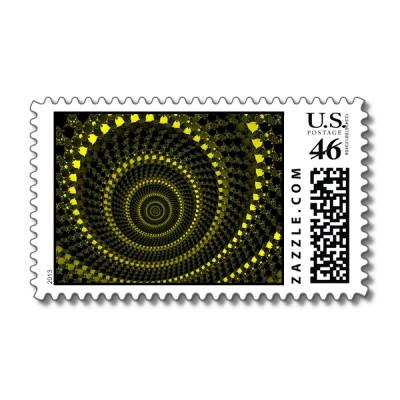Yellow Circles Postage Stamp