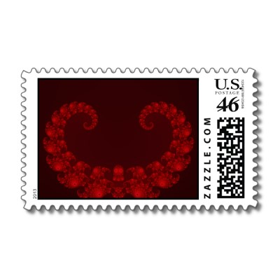 Deep Red Heart Postage Stamp