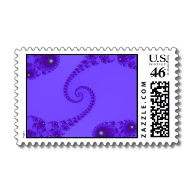 Blue Purple Double Spiral Postage Stamp