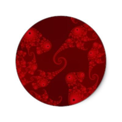 Deep Red Seahorse Herd Sticker