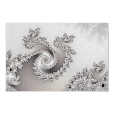 Silver Triple Twirl Poster