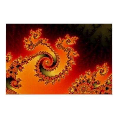 Flame Triple Twirl Poster